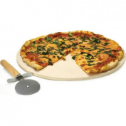 Ecolution Kitchen Extras Pizza Stone 38cm with Wooden Handle Cutter and Recipe Booklet