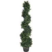 House of Silk Flowers Artificial Cedar Spiral Topiary in Pot; 1.2m H