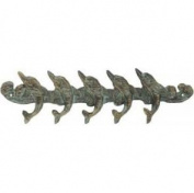 Moby Dick Nautical Coastal Verdi Cast Iron Playful Dolphins Wall Hook Rack Peg Decor