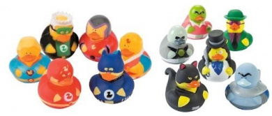 12 Rubber Ducks Superhero & Villian Bathtub Boy's Birthday Party Favours Cake Toppers