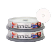 Smartbuy 20-disc 50gb 6x Blu-ray Bd-r Dl Dual Layer Double Layer White Inkjet Hub Printable Blank Data Video Recordable Media Disc with Cakebox/spindle Packing