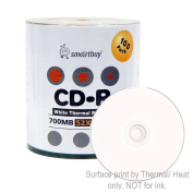 Smart Buy Cd-r 100 Pack 700mb 52x Thermal Printable White Blank Data Music Recordable Media Discs, 100 Disc, 100pk