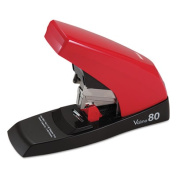 Max Vaimo 80 Heavy-Duty Flat-Clinch Stapler, 80-Sheet Capacity, Red/Brown