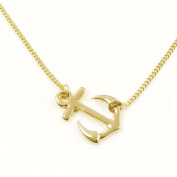 Wrapables Sideways Anchor Pendant Necklace - Available in Gold Plating or Platinum Plating