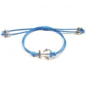 Wrapables Adjustable Anchor Leather Corded Bracelet, Blue