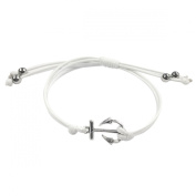 Wrapables Adjustable Anchor Leather Corded Bracelet, White