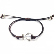 Wrapables Adjustable Anchor Leather Corded Bracelet, Brown