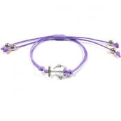 Wrapables Adjustable Anchor Leather Corded Bracelet, Purple