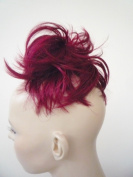 HAIR EXTENSION SCRUNCHIE RUBY BRIGHT RED BUN UP DO DOWN DO TOPPER SPIKY TWISTER