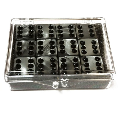 Set of 12 Olympic Colour Marbleized Dice - Silver - in Acrylic Box