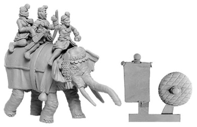 Xyston 15mm: Indian General's Elephant w/ 4 Crew (1)