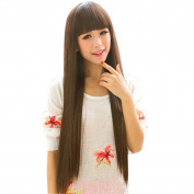 Estone Women Girl Beautiful Neat Bang Long Straight Hair Wig For Cosplay Costume Party