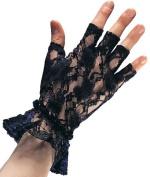 Black Lace Fingerless Gloves - Adult