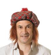 Tartan Hat & Ginger Hair Scotsman Fancy Dress