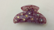 Gorgeous Handcrafted Hair Claw with Inlaid Crystal Rhinestone Marble Finished Hair Clip Jaw Clip Purple Colour - For Hair Beauty Tools