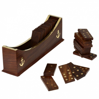 Wooden Dominoes Set Boat Tray Unique Handcrafted Toys and Board Games for Adult
