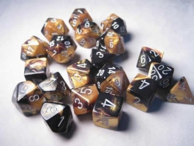 Black Gold with Silver Gemini Dice Set of 20