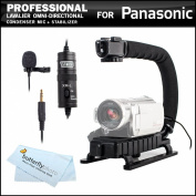 Professional Lavalier (lapel) Omni-directional Condenser Microphone - 6.1m Audio Cable + Video Stabiliser Kit For Panasonic HC-V750, HC-V750K, HC-V720, HC-V720, HC-V720K, HC-X920, HC-X920K, HC-X900M, HC-X900MK, HC-W850, HC-W850K Digital HD Camcorder