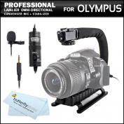Professional Lavalier (lapel) Omni-directional Condenser Microphone - 6.1m Audio Cable + Video Stabiliser Kit For Olympus Stylus TG-850 IHS, SH-1, SP-100 IHS, XZ-2 Digital Camera And Olympus E-5, OM-D E-M1, OM-D E-M5 Digital SLR Camera