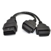 ERUSUN® 30cm ODB2 ODB II Splitter Extension Y J1962 16 Pin Cable Male to Dual Female Adapter
