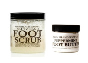 All Natural Foot Care Kit - Salt & Sand Foot Scrub and Peppermint Foot Butter - Cruelty Free