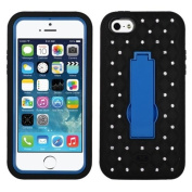 MyBat ASMYNA iPhone 5c Symbiosis Stand Protector Cover with Diamonds - Retail Packaging - Blue/Black