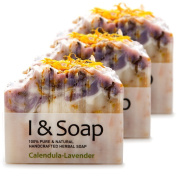 All Natural Handcrafted Herbal Soap (Calendula-Lavender) - 3 pack