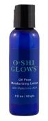 O*SHI GLOWS Oil Free Hyaluronic Moisturising Lotion; NonComedogenic; Pure Hyaluronic Acid Moisturiser; 60ml Natural Facial Moisturiser for Oily or Acne Prone Skin, Non comedogenic, for Naturally Healthy Skin; 70% Organic. loe, Vitamin B5 (Pantothe ..