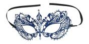 Vintage Venetian Laser Cut Blue Swirls Impression Masquerade Mask - Decorated With Gem Crystals
