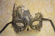 Vintage Venetian Black Swan Laser Cut Impression Masquerade Mask - Decorated with Gem Crystals