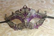 Mysterious Black w/ Purple Gem and Glitter Laser Cut Slim Venetian Swan Design Masquerade Mask for Mardi Gras Or Halloween