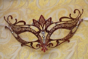 Vintage Venetian Red Swan Laser Cut Masquerade Mask - Decorated With Gem Crystals