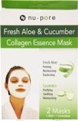 3 Packs of Nu-pore Fresh Aloe & Cucumber Collagen Essence Mask 2 Mask Per Box a Lot of 6 Total