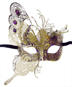 Butterfly Masquerade Laser-Trimmed Purple/Gold Costume Mask