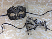 His & Hers Masquerade Couples Venetian Design Masks - 2 Piece Black Coloured Set Metal Mask - Perfect Couple Mardi Gras Queen Party Halloween Ball Prom