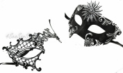 His & Hers Masquerade Couples Venetian Design Masks Sun God & Exotic - 2 Piece Coloured Set - Perfect Couple Mardi Gras Majestic Party Halloween Ball Prom