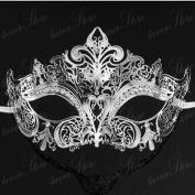 Luxury Silver Venetian Mardi Gras Masquerade Mask with Clear Rhinestones