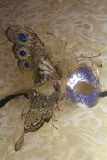 Magic Fairy Blue/gold with Blue Glitter Laser Cut Venetian Halloween Party Ball Prom Shows Masquerade Mask w/ Innovation Design