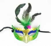 Mardi Gras Feather Masks with Sparkle Masquerade Masks
