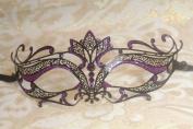 Mysterious Black and Purple Laser Cut Venetian Swan Slim Design Masquerade Mask for Mardi Gras Or Halloween