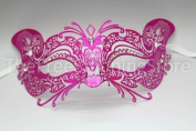 Seductive and Sexy Pink Cat Woman Metal Masquerade Venetian Mask with Diamonds