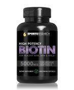 Biotin (Extra Strength) 5000mcg Per Liquid Mini Veggie Softgel; 120 Mini Veggie Softgels; Supports Hair Growth, Glowing Skin and Strong Nails; The Only Vegetarian/Vegan Biotin Softgel Available; Made In USA. .