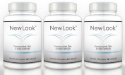 NEW LOOK Clinical Strength Hair, Skin & Nails Supplement (3 Bottles) - Promotes Faster Hair Growth, Beautiful Skin and Strong Healthy Nails - 90 Capsules per Bottle