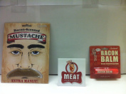 MEAT MANIAC Novelty Bacon Combo Gift Pack with Sticker- Bacon Lip Balm & Bacon Scented Moustache