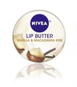 Nivea Lip Butter Loose Tin, Vanilla and Macadamia Kiss, 15ml