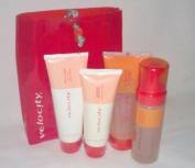 Mary Kay Velocity Set ~ Full Size Velocity Lightweight Moisturiser ~ Facial Cleanser ~ Clean Body Foam & Body Moisture Gel in Orange Travel Toiletry Bag