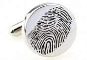 Fingerprint Cufflinks Crime Lab Silver CSI Investigation + Free Box & Cleaner