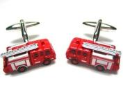 Fire Truck Firemen Cufflinks Red. Box & Cleaner