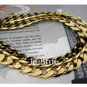 """Chunky 22"""" 12mm 24k Yellow Gold Plated Men's Necklace Solid Curb Chain Jewellery"""