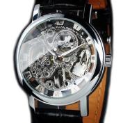 STEAMPUNK New Mens Swiss Design Men's Silver Skeleton Man's Mechanical Watch